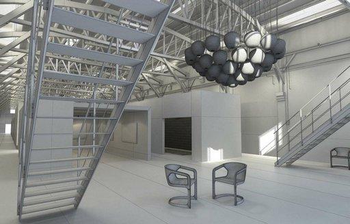دانلود رندر نمایشگاه گالری نقاشی شوروم مدرن مدل آماده رندر تری دی مکس وی ری