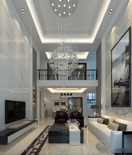 دانلود رندر خانه کامل اتاق پذیرایی اتاق نشیمن اتاق تلویزیون مدرن کف سرامیک سقف بلند مدل آماده رندر