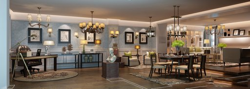 دانلود رندر خانه کامل کلاسیک کف پارکت اتاق مطالعه اتاق نشیمن میز غذاخوری لوستر کلاسیک مجسمه فرش قالیچه آباژور تابلو مدل آماده رندر