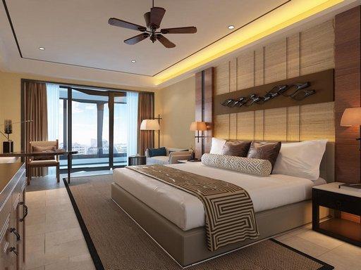 دانلود رندر اتاق هتل اتاق خواب کلاسیک چوبی پنکه کف کاشی سرامیک مدل آماده رندر