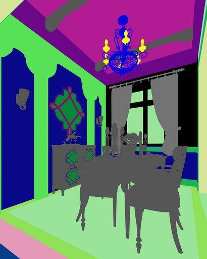 دانلود رندر آشپزخانه کلاسیک میز چوبی کف کاشی سرامیک لوستر میز نهارخوری گلدان آفتابگردان مدل آماده رندر