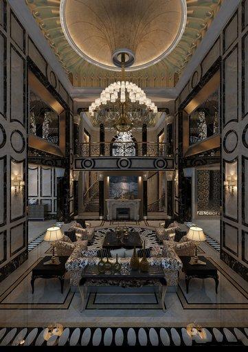 دانلود رندر لابی هتل کلاسیک لوستر بزرگ کلاسیک شومینه کف کاشی سرامیک سقف گچبری مدل آماده رندر