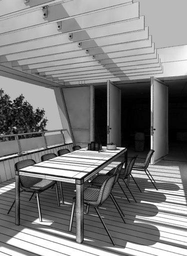 صحنه حیاط ویلا میز صندلی کف چوب مدل آماده رندر