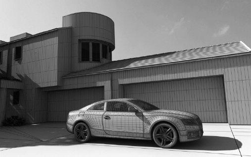 صحنه ویلا پارکینگ نما سیمان کف آسفالت ماشین آئودی مدل آماده رندر