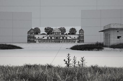 صحنه قلعه میان رود طبیعت رودخانه جنگل مدل آماده رندر