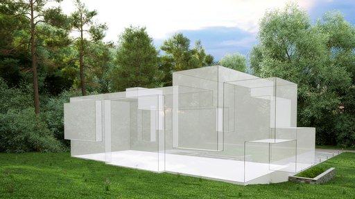 صحنه ویلا منزل جنگل درخت دیوار سنگی نورپردازی روز مدل آماده رندر