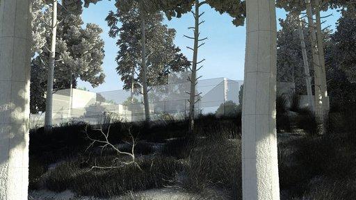 دانلود رندر ویلا چمن شمشاد جنگل نورپردازی روز مدل آماده رندر تری دی مکس وی ری
