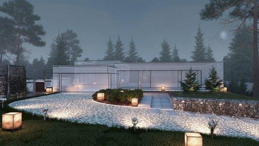 دانلود رندر ویلا مه نورپردازی شب سنگفرش باغچه مدل آماده رندر تری دی مکس وی ری