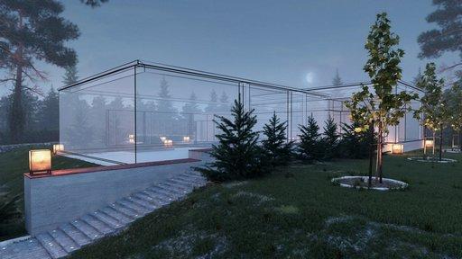 دانلود رندر ویلا مه نورپردازی شب سنگفرش باغچه چمن مدل آماده رندر تری دی مکس وی ری