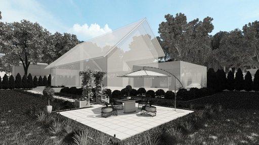 دانلود رندر ویلا جنگل باغچه صندلی حصیری نشیمن نورپردازی روز مدل آماده رندر تری دی مکس وی ری