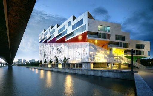 دانلود صحنه ساختمان تجاری اداری مجتمع خرید کنار رودخانه مدل آماده رندر