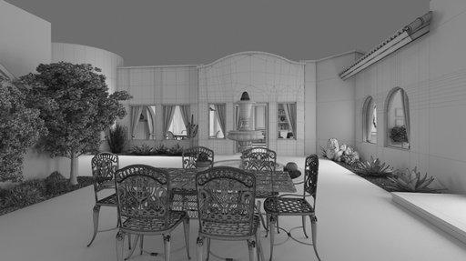 دانلود رندر ویلا حیاط آبنما نورپردازی شب صندلی فرفروژه مدل آماده رندر تری دی مکس وی ری