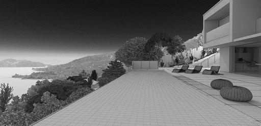 دانلود رندر ویلا استخر کوه جنگل نورپردازی روز منظره دریا مدل آماده رندر تری دی مکس وی ری