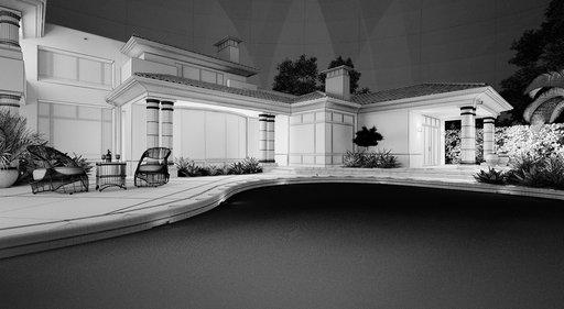 دانلود رندر ویلا استخر نورپردازی شب صندلی حصیری راحتی مدل آماده رندر تری دی مکس وی ری