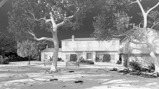 دانلود رندر ساختمان هتل چمن درخت نورپردازی ظهر مدل آماده رندر تری دی مکس وی ری