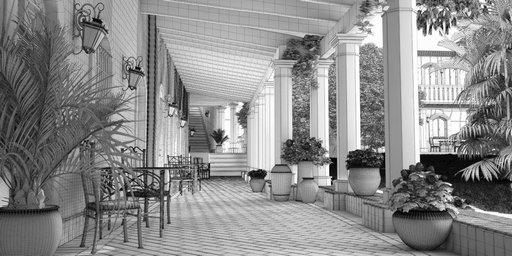 دانلود رندر هتل گلدان کوزه معماری سنتی چمن سنگفرش مدل آماده رندر تری دی مکس وی ری
