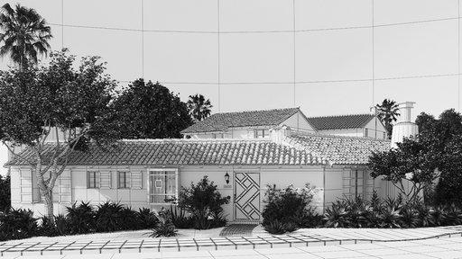 دانلود رندر خانه ویلایی سقف شیروانی آردواز باغچه خیابان مدل آماده رندر تری دی مکس وی ری