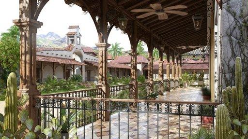 دانلود رندر هتل منطقه گرمسیری کاکتوس معماری شرقی عربی مدل آماده رندر تری دی مکس وی ری