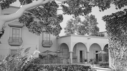 دانلود رندر ساختمان آجری گلی قدیمی هتل درخت جنگل شمشاد مدل آماده رندر تری دی مکس وی ری
