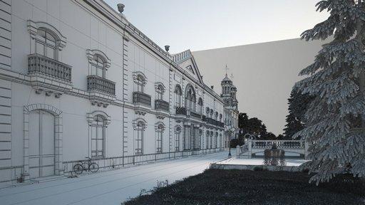 دانلود رندر ساختمان قدیمی آبنما درخت کاج چمن معماری کلاسیک مدل آماده رندر تری دی مکس وی ری