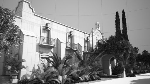 دانلود رندر ساختمان قدیمی آجری منطقه گرمسیری نورپردازی روز چمن ساختمان سیمانی مدل آماده رندر تری دی مکس وی ری
