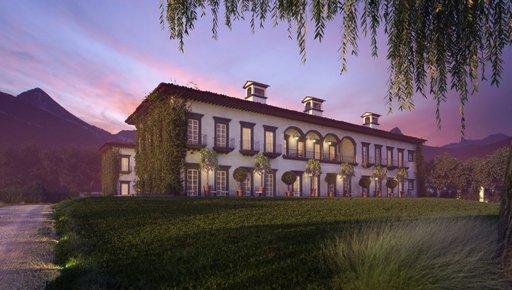 دانلود رندر هتل نورپردازی شب چمن معماری قدیمی کلاسیک مدل آماده رندر تری دی مکس وی ری