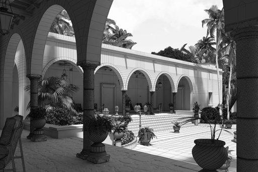 دانلود رندر هتل مراکشی عربی جنگل منطقه گرمسیری سنگفرش درخت نخل مدل آماده رندر تری دی مکس وی ری
