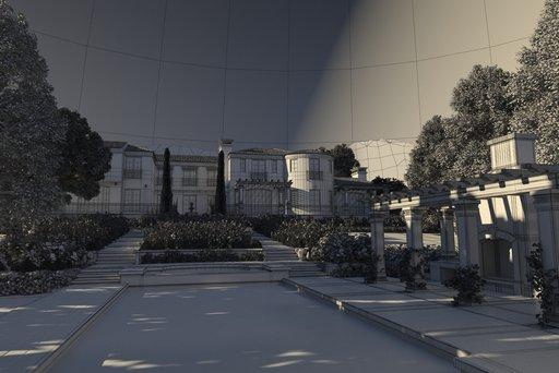 دانلود رندر ویلا جنگل درخت آلاچیق سقف باغ گل حوض نورپردازی روز مدل آماده رندر تری دی مکس وی ری