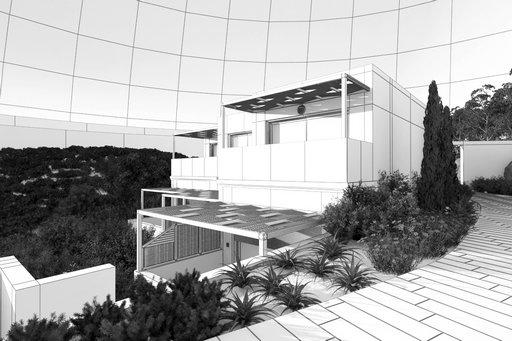 دانلود رندر ویلا مدرن ارتفاع کوه جنگل درخت لندسکیپ مدل آماده رندر تری دی مکس وی ری