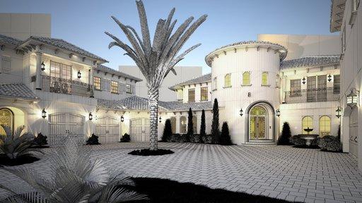 دانلود رندر هتل نما سیمان منطقه گرمسیر درخت نخل نورپردازی شب مدل آماده رندر تری دی مکس وی ری