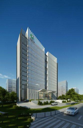 دانلود رندر برج هتل ساختمان تجاری شهر خیابان رندر روز لندسکیپ مدل آماده رندر