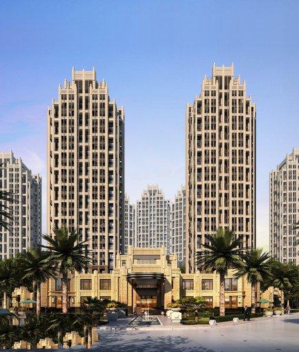 دانلود رندر برج دوقولو تجاری مسکونی استوایی رندر ظهر مدل آماده رندر