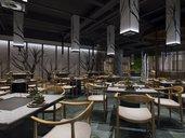 رندر محیط صحنه آماده داخلی لابی هتل مدرن رستوران کافی شاپ مدرن