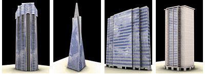 مدل آسمان خراش برج بلند شیشه ای