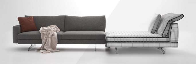 دانلود مدل سه بعدی مبل تخت پارچه کلاسیک مدرن لوستر صندلی