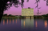 محیط صحنه آماده رندر خارجی شب روز ساختمان بلند قدیمی آجری آسیاب بادی استخر روباز دریاچه کویر ویلا