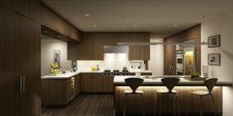 محیط صحنه آماده رندر داخلی آشپزخانه اتاق پذیرایی نشیمن رستوران