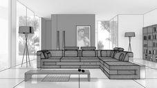 محیط صحنه آماده رندر داخلی اتاق نشیمن پذیرایی اتاق خواب