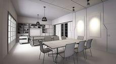 محیط صحنه آماده رندر داخلی آشپزخانه اتاق نشیمن پذیرایی حیاط ویلا فروشگاه کافی شاپ رستوران