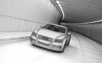 محیط صحنه آماده رندر داخلی پارکینگ نمایشگاه ماشین آئودی A8 تونل پل آشیانه هواپیما کارخانه متروکه
