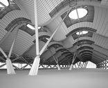 محیط صحنه آماده رندر داخلی سوله کارخانه ایستگاه قطار مترو فرودگاه مرکز تجاری خرید گالری هنری موزه
