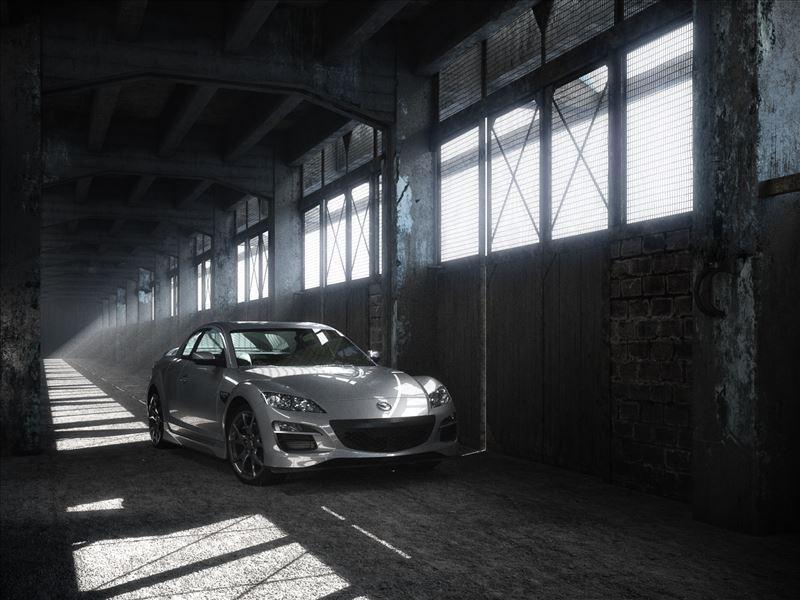 محیط صحنه آماده رندر داخلی کارخانه متروکه قدیمی پل نمایشگاه اتومبیل پارکینگ مزدا 6