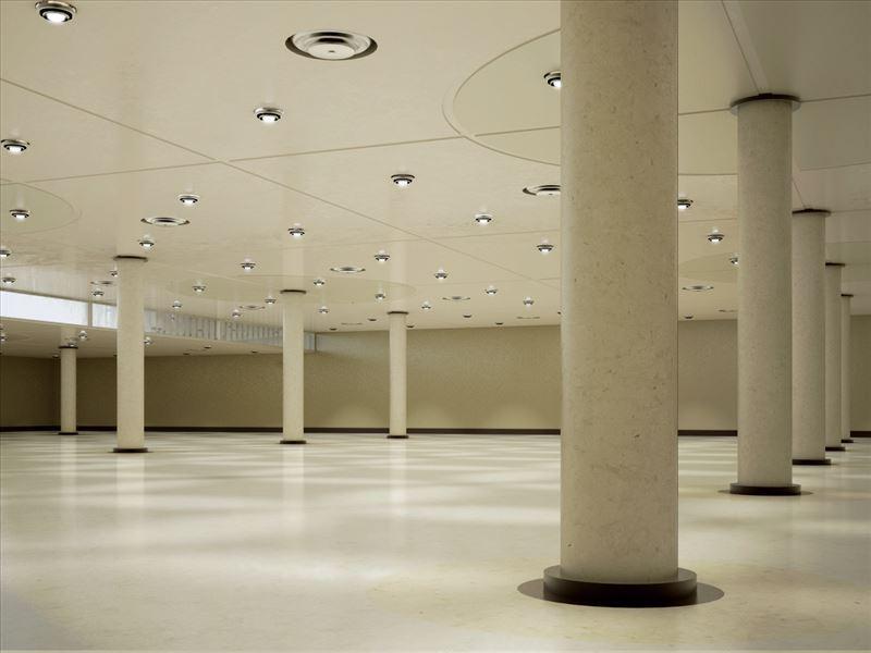 محیط صحنه آماده رندر داخلی گالری هنری موزه کارخانه مرکز خرید