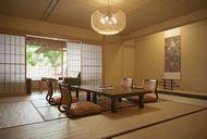 محیط صحنه آماده رندر داخلی اتاق پذیرایی چینی ژاپنی