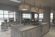 محیط صحنه آماده رندر داخلی خانه کامل اتاق پذیرایی نشیمن پاسیو آشپزخانه