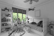 محیط صحنه آماده رندر داخلی اتاق خواب مینیمال کف چوب اتاق هتل ویلا اتاق کودک بچه اتاق خواب زیر شیروانی شومینه اتاق نشیمن