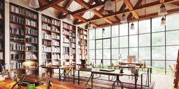 محیط صحنه آماده رندر داخلی شرکت طراحی مدرن اتاق طراحی کتابخانه چوبی شرکت بزرگ طراحی اتاق مدیر عامل اتاق استراحت ویلا هتل رو به جنگل
