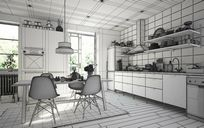 محیط صحنه آماده رندر داخلی آشپزخانه مدرن اتاق مطالعه کتابخانه اتاق پذیرایی اتاق نشیمن شومینه اتاق زیر شیروانی