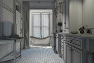 محیط صحنه آماده رندر داخلی حمام مدرن کلاسیک استیل کف پارکت دستشویی وان سرامیک کاشی