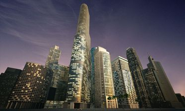 مدل آسمان خراش برج شب